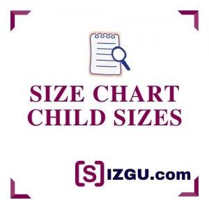 Size chart child sizes