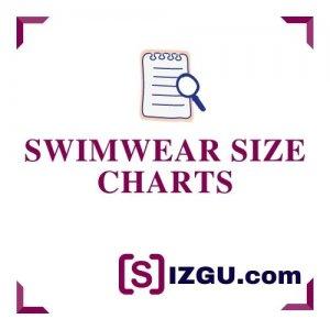 Swimwear size charts