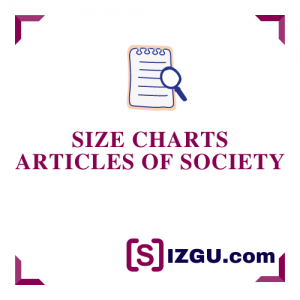 Size Charts Articles of Society